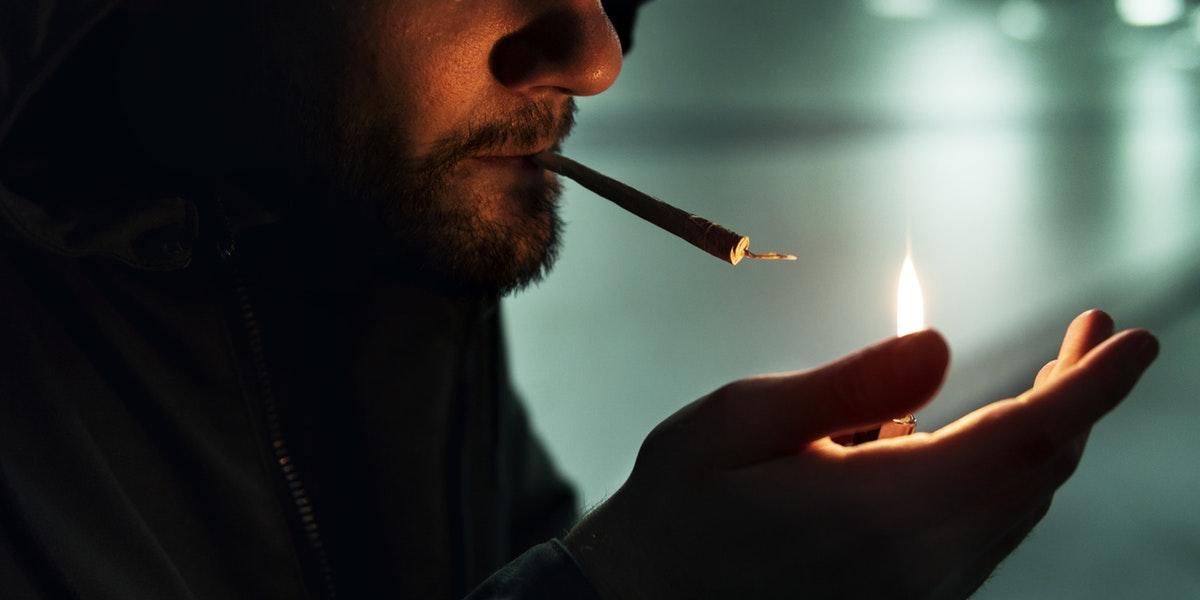 Cannabis Counterculture man smoking joint