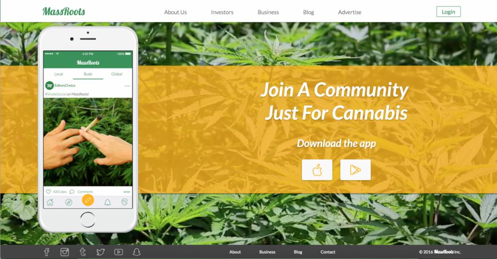 Massroots - social media platform for cannabis enthusiast.